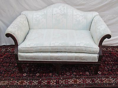 Fine Chippendale Styled Settee With Mahogany Pierced Carved Stretcher-Wonderful!