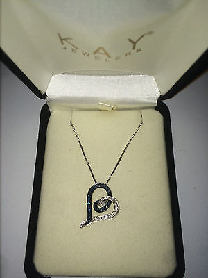 Diamond Heart Necklace Blue and White 1/4 CT TW Sterling Silver