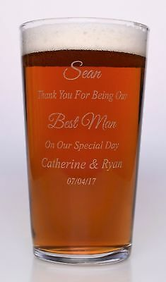 Engraved BEST MAN WEDDING Pint Glass Gift For Usher/Groomsman/Dad/Father