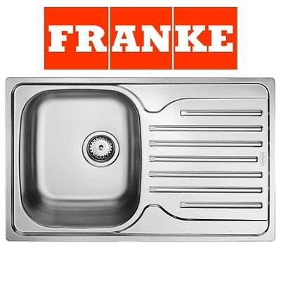 Franke Single 1.0 Bowl Drainer & Waste Stainless Steel Linen Kitchen Sink Inset