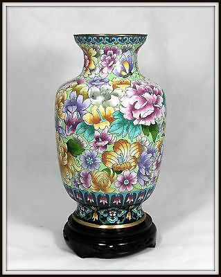 """Thousand Flowers  """"Grand Chinese Cloisonne Vase"""" (13.7/8"""" H) with Carved Stand"""