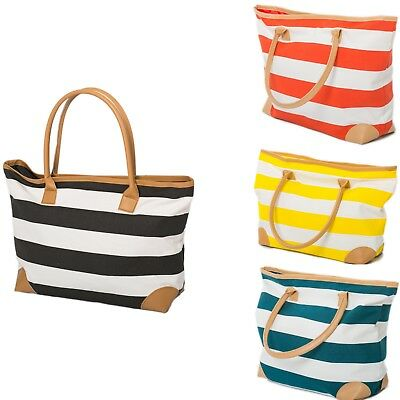 Ladies Womens Beach Bag Large Striped Summer Shoulder Shopper Tote Canvas Zip