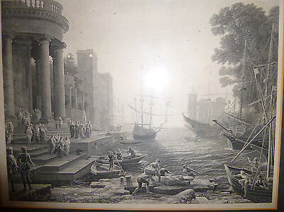 "CLAUDE LORRAIN ""Embarkation St Ursula"" Antique Art Engraving Master Artist Sea"