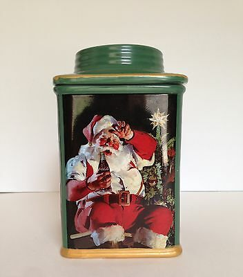 Coca Cola Christmas Holiday Stoneware Container Lid Giving Collectable Santa