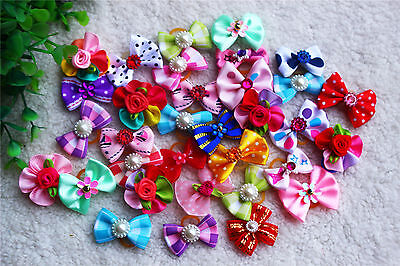 10pcs Mix Pet Dog Hair Bows Rhinestone Pears for Holidays Pet Grooming Product