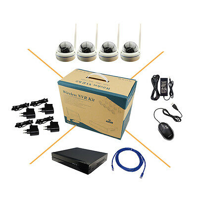 4 x HD 960P WIFI Wireless IP Camera System CCTV Indoor Dome 8CH NVR P2P Network