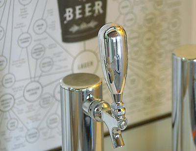 "NEW! CHROME POLISHED HEAVY WEIGHT BEER TAP HANDLE ""MODERN"" by Beer Peripherals"