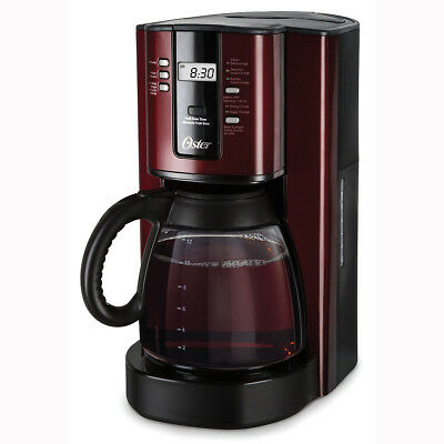 Oster 12-Cup Programmable Coffee Maker, Red Stainless Steel BVSTTJX36-033