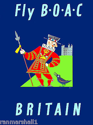 Great Britain England English Airplane Vintage Travel Advertisement Art Poster