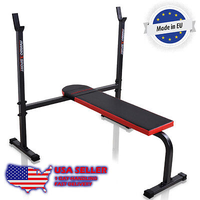 Marbo Sport Flat  Bench with integrated barbell racks for Home Gym