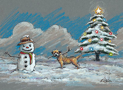 Border Terrier Dog, Christmas cards pack of 10 by Paul Doyle. C470X
