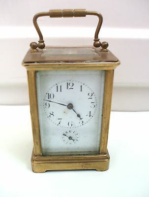 "Miniature Brass Case Enamelled Face Alarm Timepiece Carriage Clock GW 4""H"