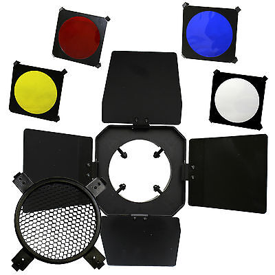 Photo Studio Flash Strobe Light Barn Door Honeycomb Grid w/ 4 Color Gel Filters