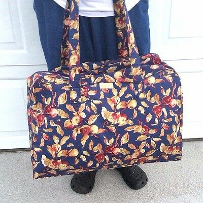 EARLY HARVEST Fabric Weekender Luggage TRAVEL Duffle Bag Zipper Longaberger New