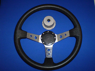 """Black and Silver padded deluxe Boat steering wheel with Marine 3/4"""" HUB"""