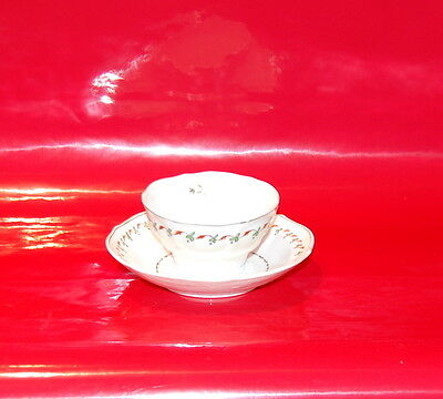 Antique English Porcelain Tea Cup Saucer Iron Red Berry Green Leaf Design