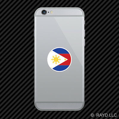 Round Filipino Flag Cell Phone Sticker Mobile Philippines Pinoy PHL