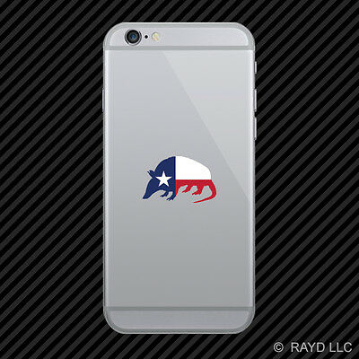Armadillo Shaped Texas Flag Cell Phone Sticker Mobile Die Cut lonestar