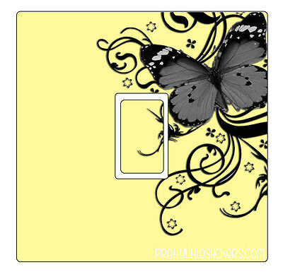 Cream Grey & Black Butterfly Light Switch Sticker vinyl skin cover decal