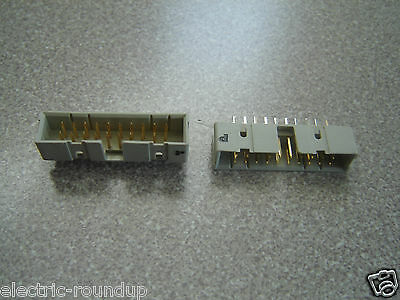 """Lot of Two, 2x10, 20 Gold Pin Box Header IDC Male Straight  0.1"""" Tinned Legs"""