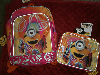 Dispicable Me Backpack And Minion Soft Lunchbox Tye Died Look With Peace Signs