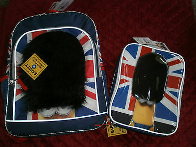 Dispicable Me Backpack And Minion Soft Lunchbox  British Flag With Royal Guards