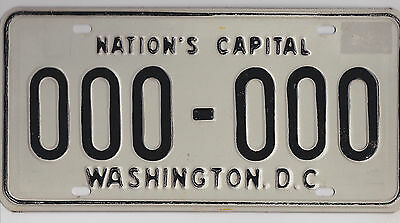 1968 Base District Of Columbia License Plate #000 000 Sample