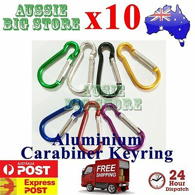 10x Carabiner Clip Key Ring Holder Chain Cable Hiking Hook Lock Camping D Shape