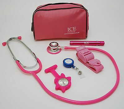 Nurse Set PINK Tourniquet, LED Pen torch and Stethoscope ID Tag Watch Pink Bag