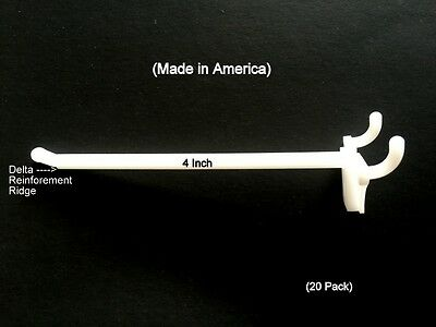 """(20 PACK) 4 Inch White Plastic Peg Hooks For 1/8"""" to 1/4"""" Pegboard.  USA Made"""