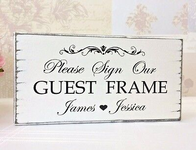 Wedding Signs Guest Frame Personalised Free Standing Shabby Vintage Chic