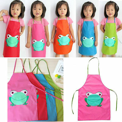 Kids Children Waterproof Frog Print Apron Paint Drink Cooking Craft Art Feeding