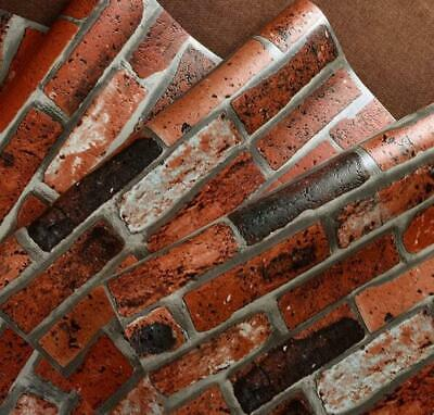 10m 3D Red Brick Stone Rock Print Natural Theme Wallpaper Real Image OZ Seller