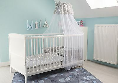 White Cot Bed 120x60cm or 140x70cm With FREE Mattress & 5,7 pcs Bedding Set