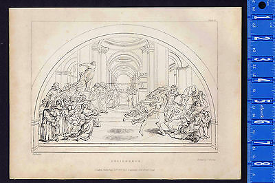 Raphael's Expulsion of Heliodorus from the Temple 1837 Burnet Copper Etching