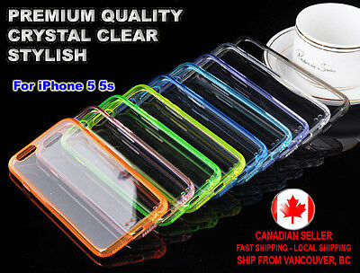 Case Crystal Clear Thin Transparent TPU + PC Back Cover for Apple iPhone 5 5