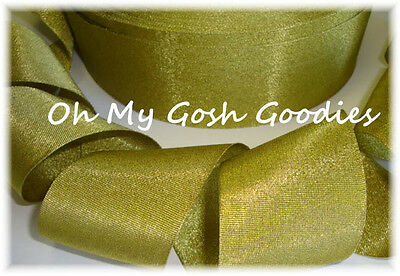 2 1/4 Gold Shimmy Shimmer Glitter Sparkle Bling Princess Cheer Grosgrain Ribbon
