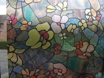 Red Blue Stained Glass Flower Window Sticky Back Plastic Vinyl Film Self Adhesi
