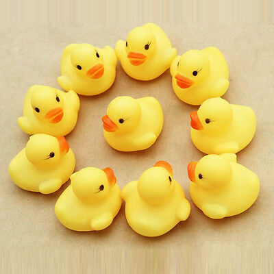 12PCS Cute Rubber Small Yellow Duck Ducky Duckie Baby Shower Toys Birthday Gifts