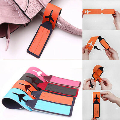 Leather Travel Trip Luggage Tags Name ID Suitcase Bag Holder Labels Strap New