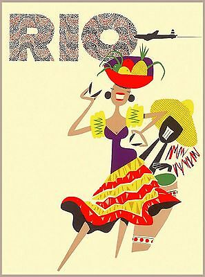 Rio de Janeiro Brazil Girl South America Vintage Travel Advertisement Poster