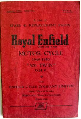 ROYAL ENFIELD 500 Twin OHV - Motorcycle Parts List - Aug 1950 -#175/½M.856