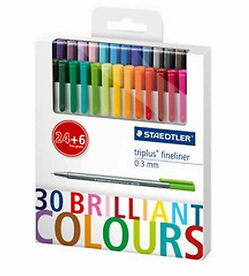 Staedtler 334 C30P Triplus Fineliner 30 Farben Promotion Set, 24 + 6 0,3 mm