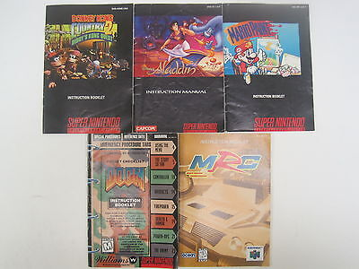 Super Nintendo SNES Game Instruction Manual Lot of 5 DK Country 2 Aladdin Mario+