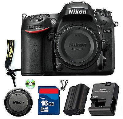 Nikon D7200 DSLR Camera (Black) BODY ONLY - CellTime Kit with 16 GB SD Card