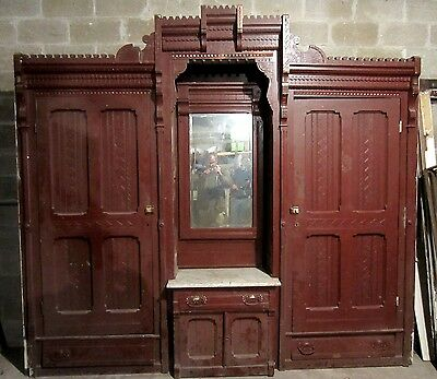 ~ Antique Carved Walnut Closet Front Built In Armoire ~ Architectural Salvage ~