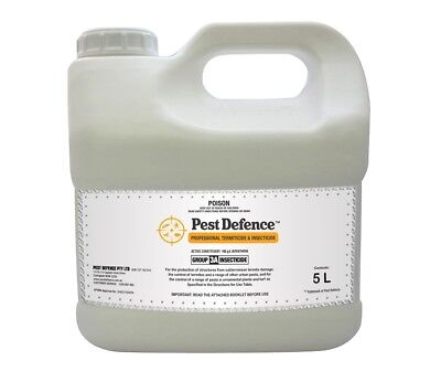 PEST DEFENCE TERMITICIDE INSECTICIDE - 5 LITRE DIY Termite Poison - Bifenthrin