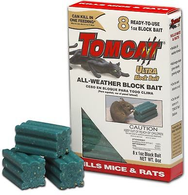 TOMCAT ULTRABLOX 224g Rat Bait Mouse Poison All Weather Rodenticide Bromadiolone