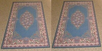 2X New Blue Traditional Rubber Back Floor Mat/ Rug 57X100Cm
