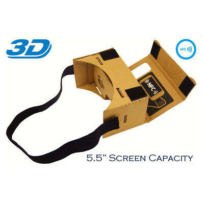 GOOGLE CARDBOARD 3D HEADSET VIRTUAL REALITY VR GOGGLES FOR ANDROID iPHONE iOS UK
